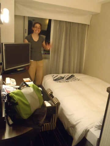 The tiny hotel room where our sleep was fitful, at best.