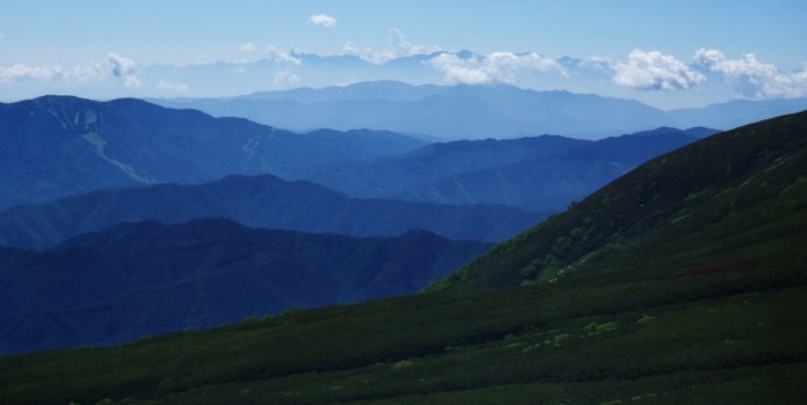 Layers of mountains.