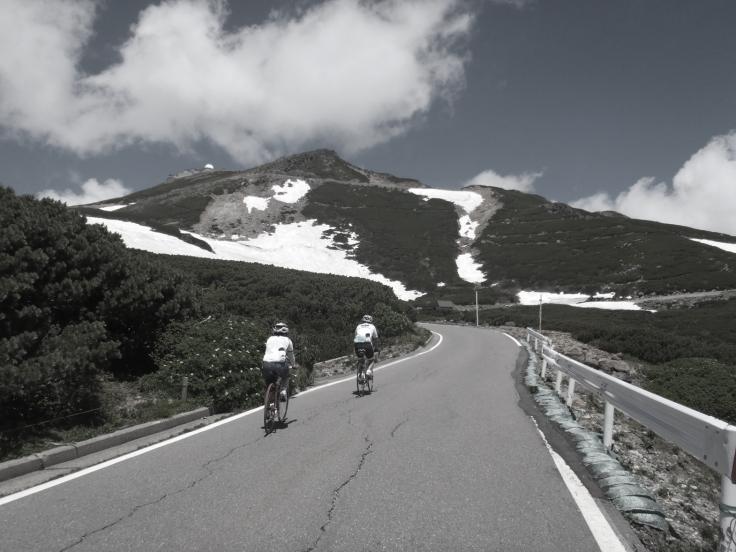 Biking up Norikura.