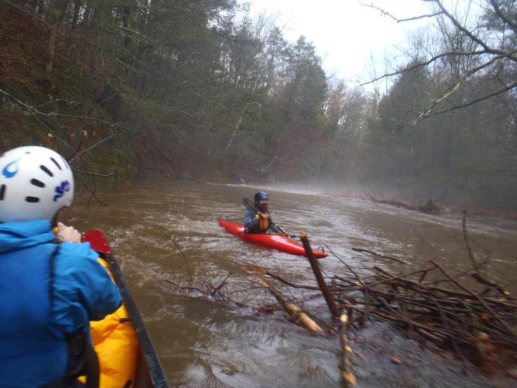 Chute through a beaver dam.