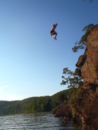 Cliff jumping at Raystown---June.