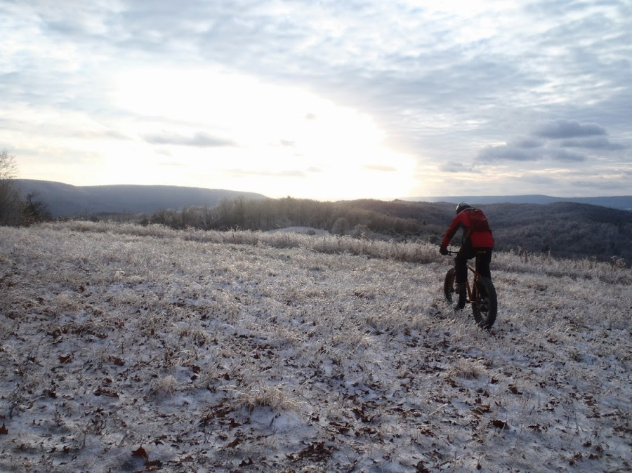 Riding across a field encased in ice on Thanksgiving Day.