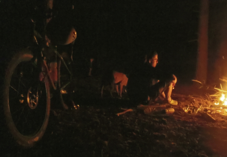 Bike-packing with Ev and Dinah---April.