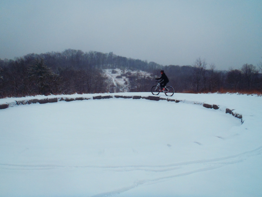 A snowy ride on the Peace Chapel trails---December.