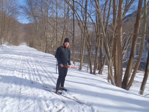 XC skiing on the Lower Trail with Jeff---January.