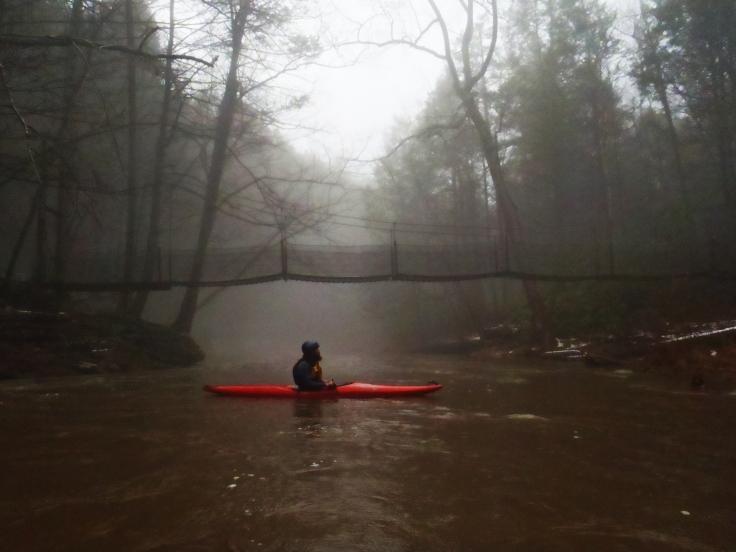 Floating past the Suspension Bridge