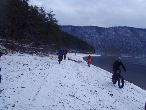 There's not much cooler than riding the shoreline in the snow.