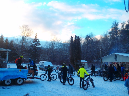 Loading bikes on the trailer, 8 am.