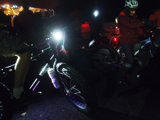 Fat-bikes and lights, ready to ride to the bar.