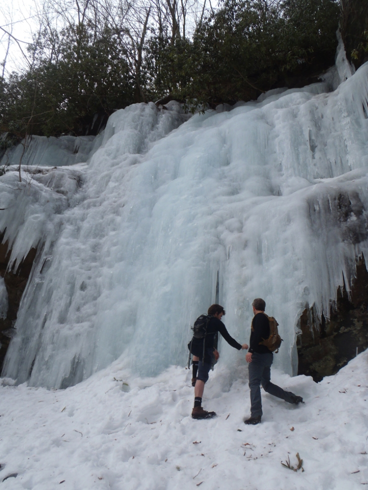 As we got to the falls, a few guys were just packing up from ice climbing here.