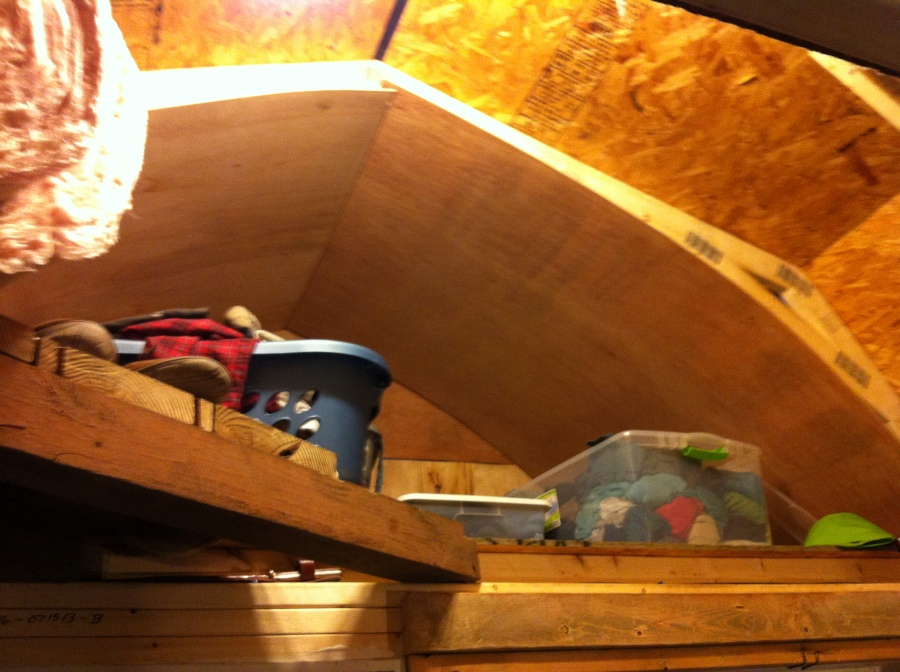 """Upstairs---before we built a """"closet"""" area with a metal rod that hung from the ceiling."""