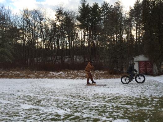 Testing the ski chariots.