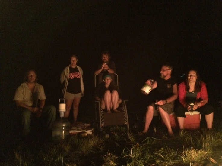 around the fire people