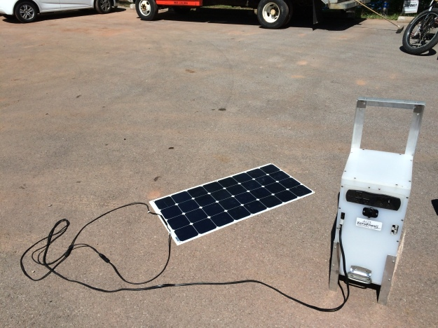 And had these nifty little cell phone charging stations set up throughout the event---all powered by solar!